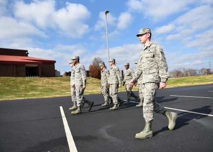 Senior Airmen in the Airman Leadership School Blended Learning Class 18-1 were having fun outdoors, Dec. 1, 2017, during their two weeks of hands-on learning in East Tennessee. Marching a flight may not have looked as easy as it seemed, but there was plenty of camaraderie and encouragement. The Chief Master Sergeant Paul H. Lankford Enlisted Professional Military Education Center is where Air National Guard Airmen go for the combined distance learning and resident course. The class graduates before the holiday. (U.S. Air Force photo/Master Sgt. Mike R. Smith)