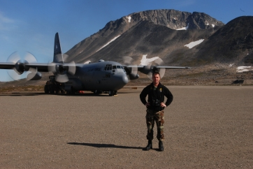 The author during airlift at the Kulusuke airport, a short, dirt landing strip on Greenland's east coast.