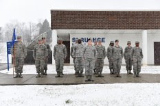 Airman leadership school students attended the retreat ceremony on a snowy afternoon, Jan. 16, 2018, at the I.G. Brown Training and Education Center in East Tennessee. The campus on McGhee Tyson Air National Guard Base received 1 to 2 inches of snow overnight. TEC's Chief Master Sergeant Paul H. Lankford Enlisted Professional Military Education Center is the U.S. Air Force's largest such center, where thousands attend Noncommissioned Officer Academy and ALS annually.