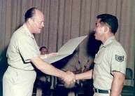 Air Force Brig. Gen. I.G. Brown presents the NCO academy diploma to Tech. Sgt. G.M. Matsuguma, Class 69-D, from Hawaii during the graduation ceremony on McGhee Tyson Air National Guard Base in East Tennessee. General Brown established the Air Guard's NCO academy in his name and retired in 1974 after achieving the rank of Major General and serving as the 1st Director of the Air Guard. (U.S. Air National Guard file photo)