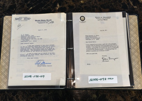 Letters from Alaska Sen. Ted Stevens and Arkansas Gov. Dale Bumpers, both express their gratitude to Maj. Gen. I.G. Brown, 1st Director of Air National Guard, for visiting Air National Guard NCO Academy graduations in East Tennessee in 1971. (U.S. Air National Guard photo/Master Sgt. Mike R. Smith)