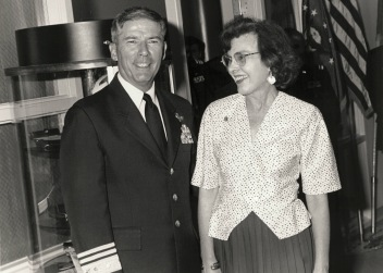 Lt. Gen. John B. Conaway, chief of the National Guard Bureau, and librarian Katherine Black at the dedication ceremony of the Conaway Library on Sept. 17, 1993, at the Air Guard's Professional Military Education Center on McGhee Tyson Air Guard Base in East Tennessee. (U.S. Air Guard File photo)