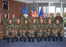 NCO academy students in Class 03-3 get their flight photo taken April 4, 2003, in Patriot Hall at the Air Guard training and education center in East Tennessee. (U.S. Air National Guard file photo)