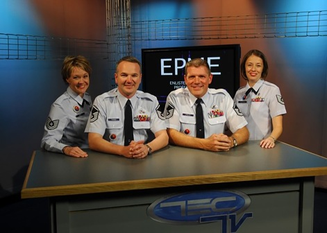 Satellite NCO academy instructors join at the broadcast desk in TECTV's Studio One in 2007 at the Air Guard training and education center in East Tennessee. (U.S. Air National Guard file photo)