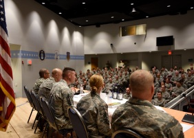 U.S. Air Force First Sergeants answer questions from a chiefs' panel in the Spruance Hall auditorium on May 23, 2018, during the First Sergeant Symposium at the Air National Guard's training and education center in East Tennessee. (U.S. Air National Guard photo/Master Sgt. Mike R. Smith)