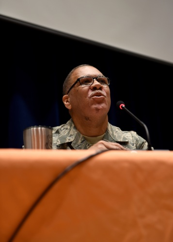 Chief Master Sgt. Jimmie Jones takes part in a chiefs' panel for U.S. Air Force First Sergeants, May 23, 2018, during the First Sergeant Symposium at the Air National Guard's training and education center in East Tennessee. Chief Jones is assigned to the 164th Airlift Wing in Memphis. (U.S. Air National Guard photo/Master Sgt. Mike R. Smith)