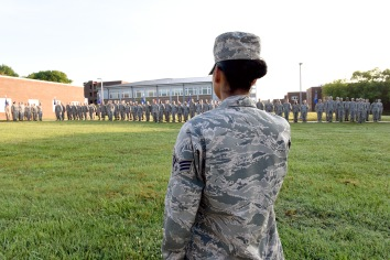 Airman leadership school students stand at attention during morning reveille at the Air National Guard's training and education center, June 12, 2018, on McGhee Tyson Air Guard Base in East Tennessee. (U.S. Air National Guard photo/Master Sgt. Mike R. Smith)