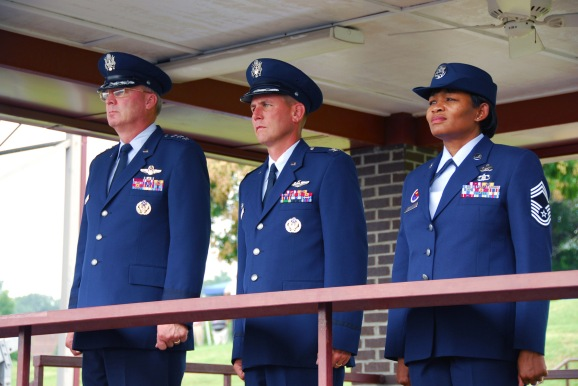 From left, Lt. Gen. Craig R. McKinley, director of the Air National Guard, Col. Michael L. Waggett, commander of the Air Guard's I.G. Brown Training and Education Center (TEC) and Chief Master Sgt. Deborah Davidson, TEC enlisted education commandant, watch a pass and review of Noncommissioned Officer Academy students July 31 during the TEC's 40th anniversary celebration at McGhee Tyson Air National Guard Base, Tenn. (Photo by Tech. Sgt. Kendra Owenby, Tennessee National Guard)